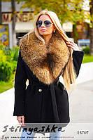 Укороченное зимнее кашемировое пальто черное, фото 1