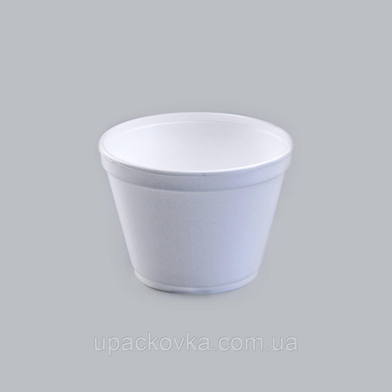 Емкость супная из вспененного полистирола с крышкой, 450 мл