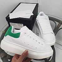 Кроссовки McQueen белые с зеленой пяточкой. Натуральная кожа. Аналог, фото 1