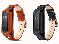 Ремешок для Xiaomi Mi Band 2 кожаный с карманом Grey