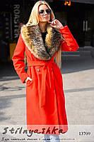 Удлиненное зимнее кашемировое пальто красное, фото 1
