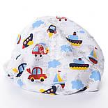 """Ткань муслин """"Машинки, самолёты и кораблики с облаками"""" на белом, ширина 160см, фото 3"""