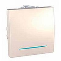 Выключатель 1-клавишный (кнопочный) c подсветкой 2 мод., слоновая кость MNGU3.206.25N