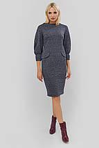 Приталенное серое трикотажное платье с манжетами на рукавах (Novis crd), фото 2