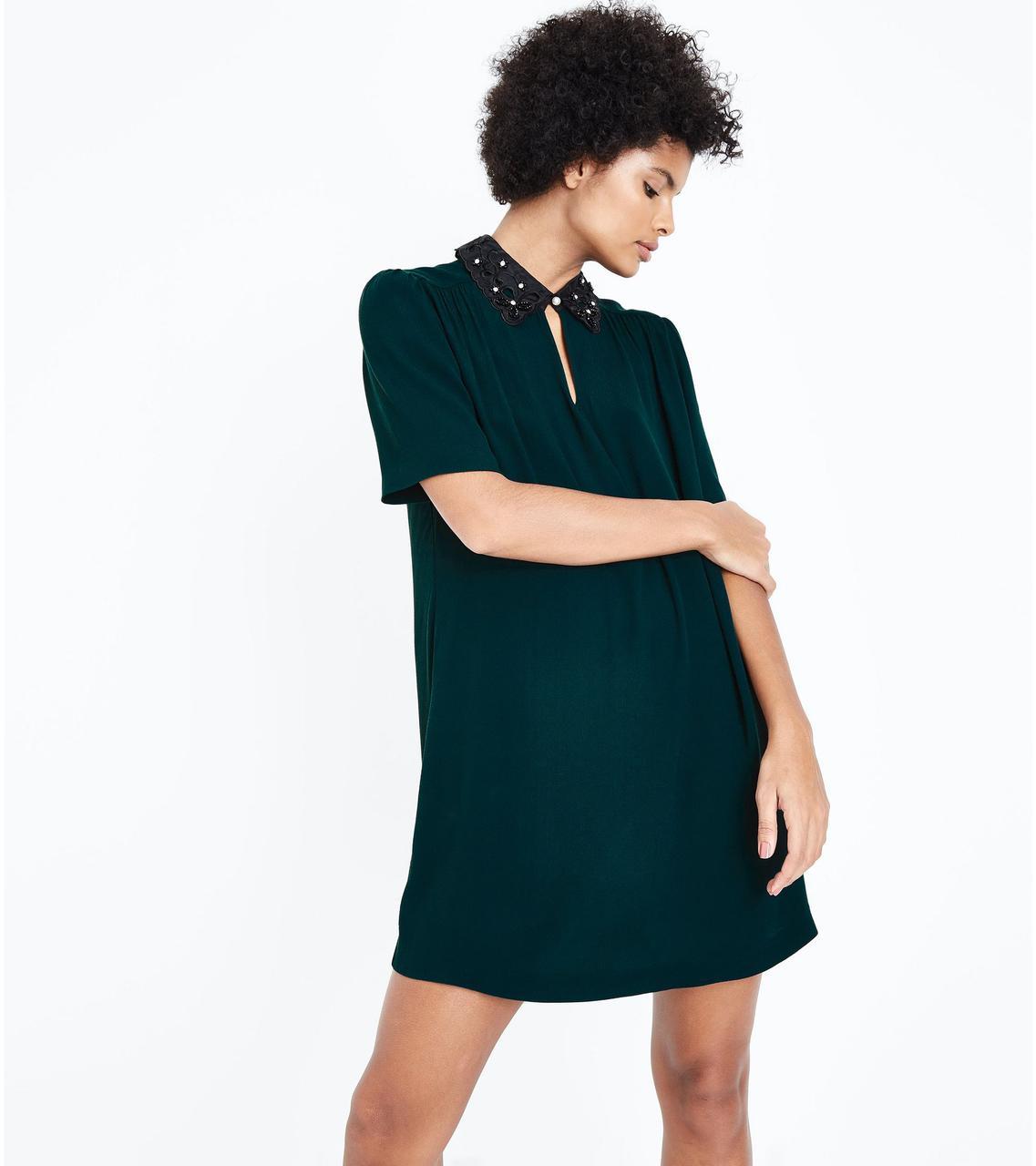 Платье с воротничком бутылочного цвета New Look