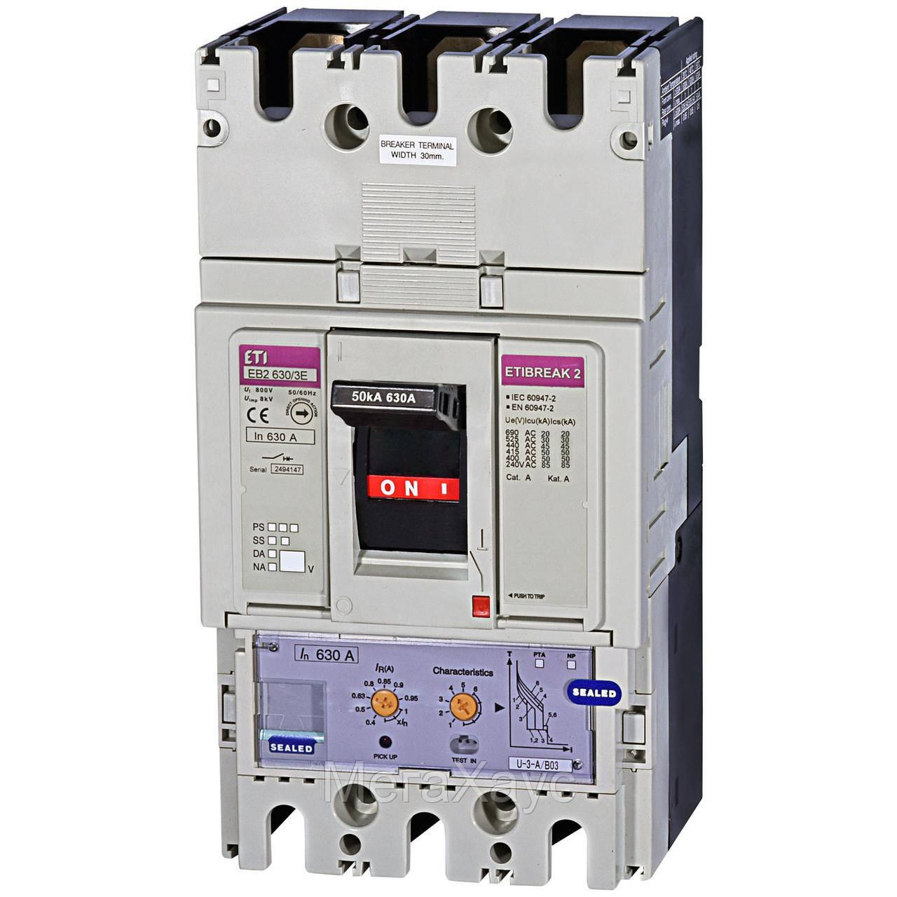 Промышленный автоматический выключатель ETI ETIBREAK EB2 630/3E 630А 3р (50кА)