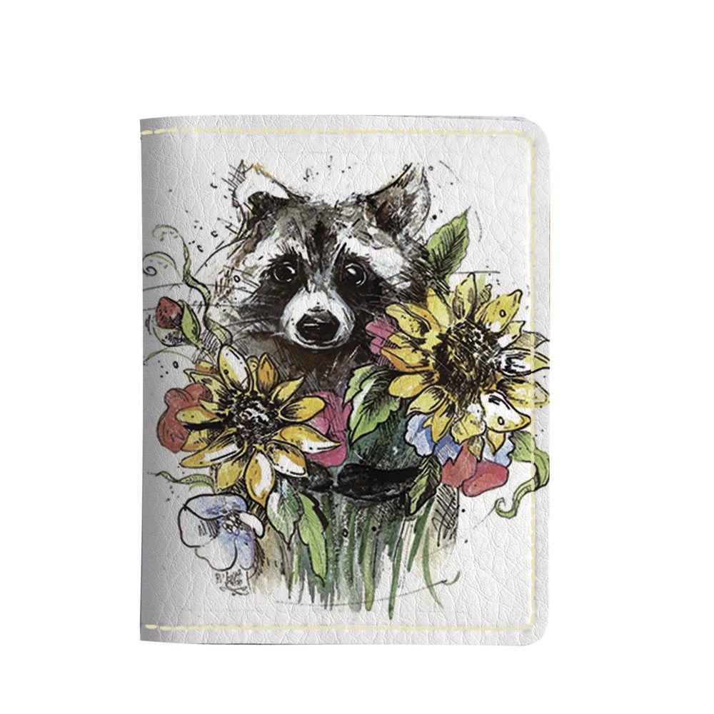Картхолдер v.2.0. Fisher Gifts 703 Енот с цветочками (эко-кожа)