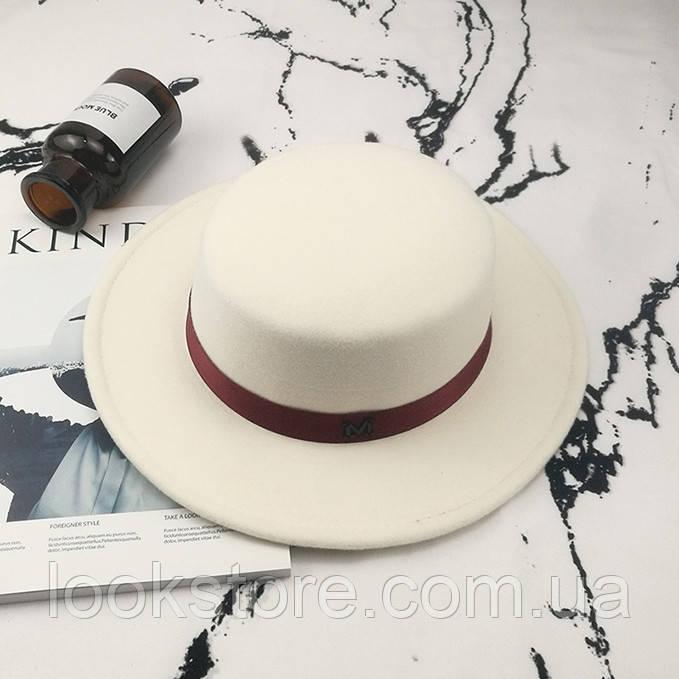Шляпа женская канотье в стиле Maison Michel белая