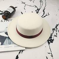 Шляпа женская канотье в стиле Maison Michel белая, фото 1