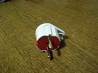 Вилка евро 16А бело-красная угловая с заземлением EL-BI