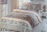 Сатиновое постельное белье полуторка ELWAY 5051