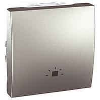 """Выключатель 1-клавишный (кнопочный) """"СВЕТ"""" 2 мод., алюминий MGU3.206.30"""
