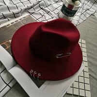 Шляпа женская Федора с кольцами и устойчивыми полями бордовая (марсала), фото 1