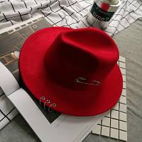 Шляпа женская Федора с кольцами и устойчивыми полями красная, фото 1
