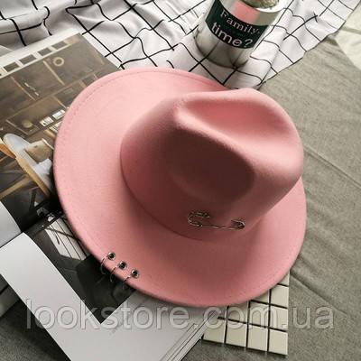 Шляпа женская Федора с кольцами и устойчивыми полями розовая