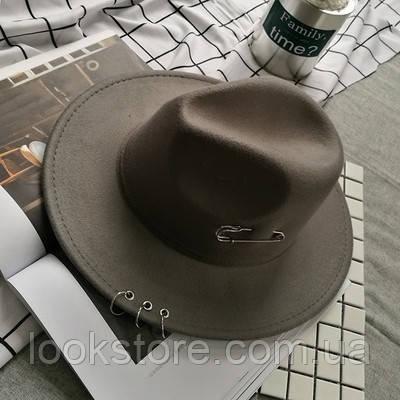 Шляпа женская Федора с кольцами и устойчивыми полями серая