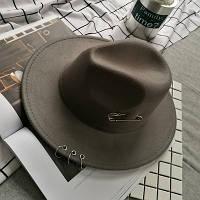 Шляпа женская Федора с кольцами и устойчивыми полями серая, фото 1