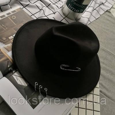 Шляпа женская Федора с кольцами и устойчивыми полями черная