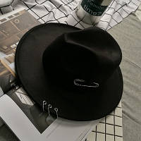 Шляпа женская Федора с кольцами и устойчивыми полями черная, фото 1