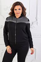 Хит! Женский спортивный костюм штаны с лампасами кофта на молнии с люрексом чёрный с серым 42-44 46-48 50-52, фото 1