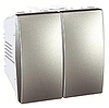 Выключатель 2-клавишный, алюминий, 2 модуля MGU3.211.30