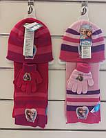 Шапки+перчатки+шарф для девочек оптом, Disney, 3-8 лет, арт. FR-A-K--54