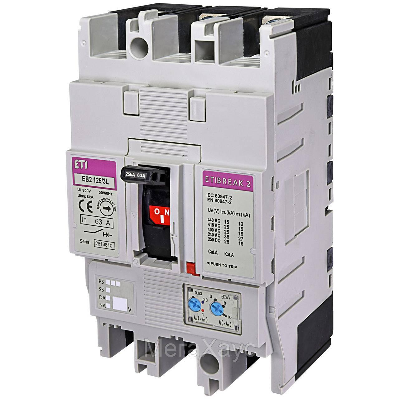 Промышленный автоматический выключатель ETI ETIBREAK  EB2 125/3L 63А 3р (25кА)