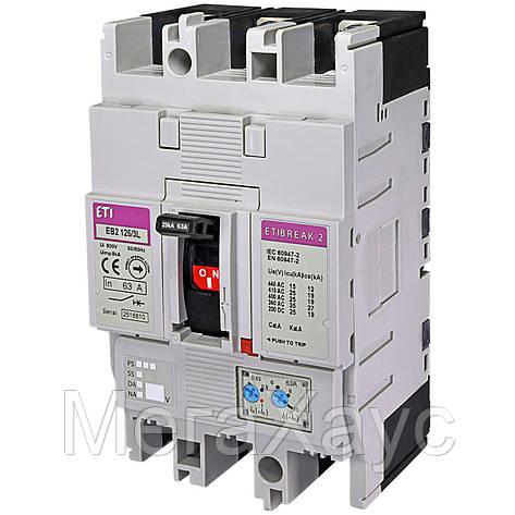 Промышленный автоматический выключатель ETI ETIBREAK  EB2 125/3L 63А 3р (25кА), фото 2