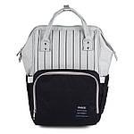 Сумка - рюкзак для мами Смужка, чорний ViViSECRET