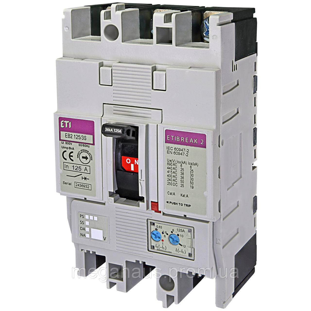 Промышленный автоматический выключатель ETI ETIBREAK EB2 125/3S 125А 3р (36кА)