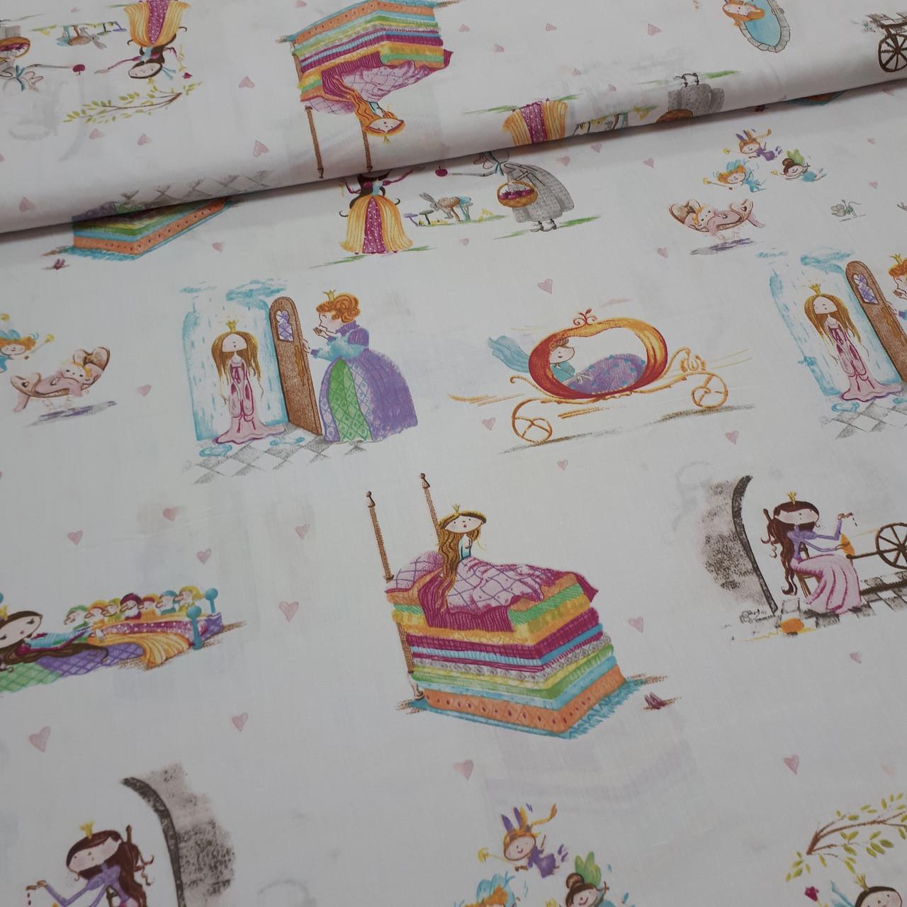 Ткань польская хлопковая, принцессы из сказок на белом
