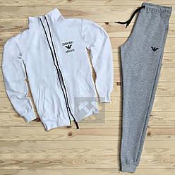 Спортивный костюм Armani белого и серого цвета (люкс копия)