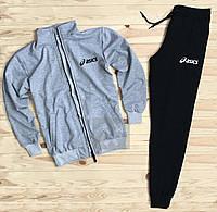 Спортивный костюм Asics черного и серого цвета (люкс копия)