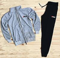 Спортивный костюм Fila черного и серого цвета (люкс копия)