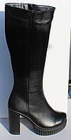 Женские зимние кожаные сапоги на каблуке от производителя модель НП828, фото 1