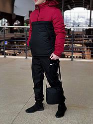 Мужской комплект анорак + штаны + сумка Nike красного и черного цвета (люкс копия)