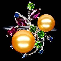 Жемчуг золотой, серебро 925, кольцо, 1248КЦЖ