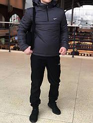 Мужской комплект анорак + штаны + сумка Nike серого и черного цвета (люкс копия)