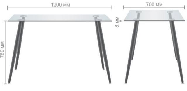 Стол обеденный Умберто DT-1633 бук/стекло прозрачное (размеры)