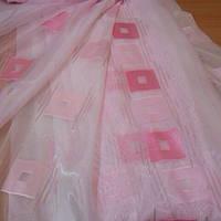 Ткань для тюля, гардины, органза  розовый квадратик