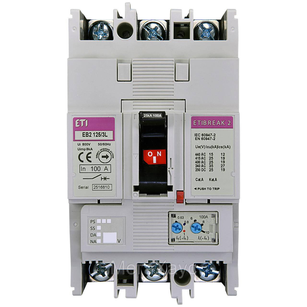 Промышленный автоматический выключатель ETI ETIBREAK EB2 125/3L 125А 3р (25кА)