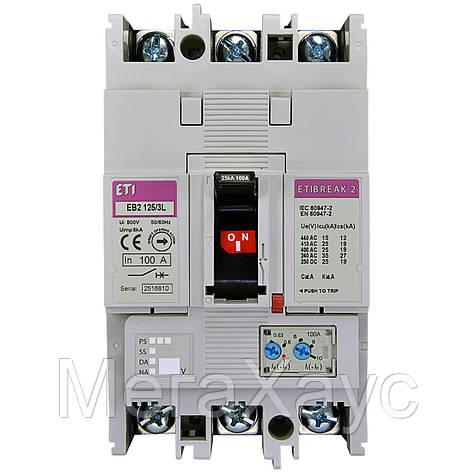 Промышленный автоматический выключатель ETI ETIBREAK EB2 125/3L 125А 3р (25кА), фото 2