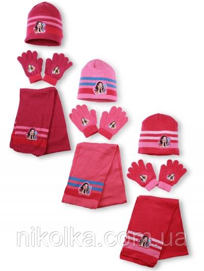 Шапки+перчатки+шарф для девочек оптом, Disney, 3-8 лет, арт. 780-570