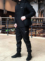 Мужской комплект анорак + штаны + сумка Nike черного цвета (люкс копия)