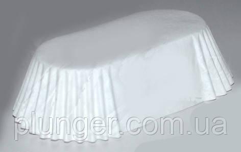 Тарталетка бумажная овальная для эклеров, тортиков, пирожных белая, 80мм х 35мм. высота 30мм