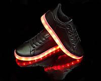 Кроссовки с LED подсветкой унисекс Black 651, фото 1