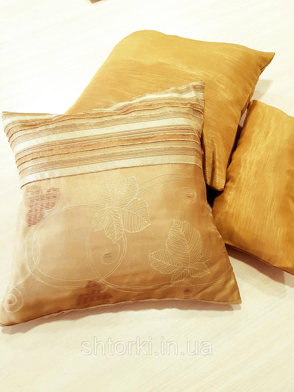 Комплект подушек  стелла матовая с полоской золото 3шт