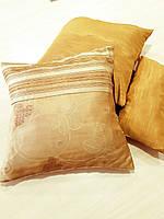 Комплект подушек  стелла матовая с полоской золото 3шт, фото 1