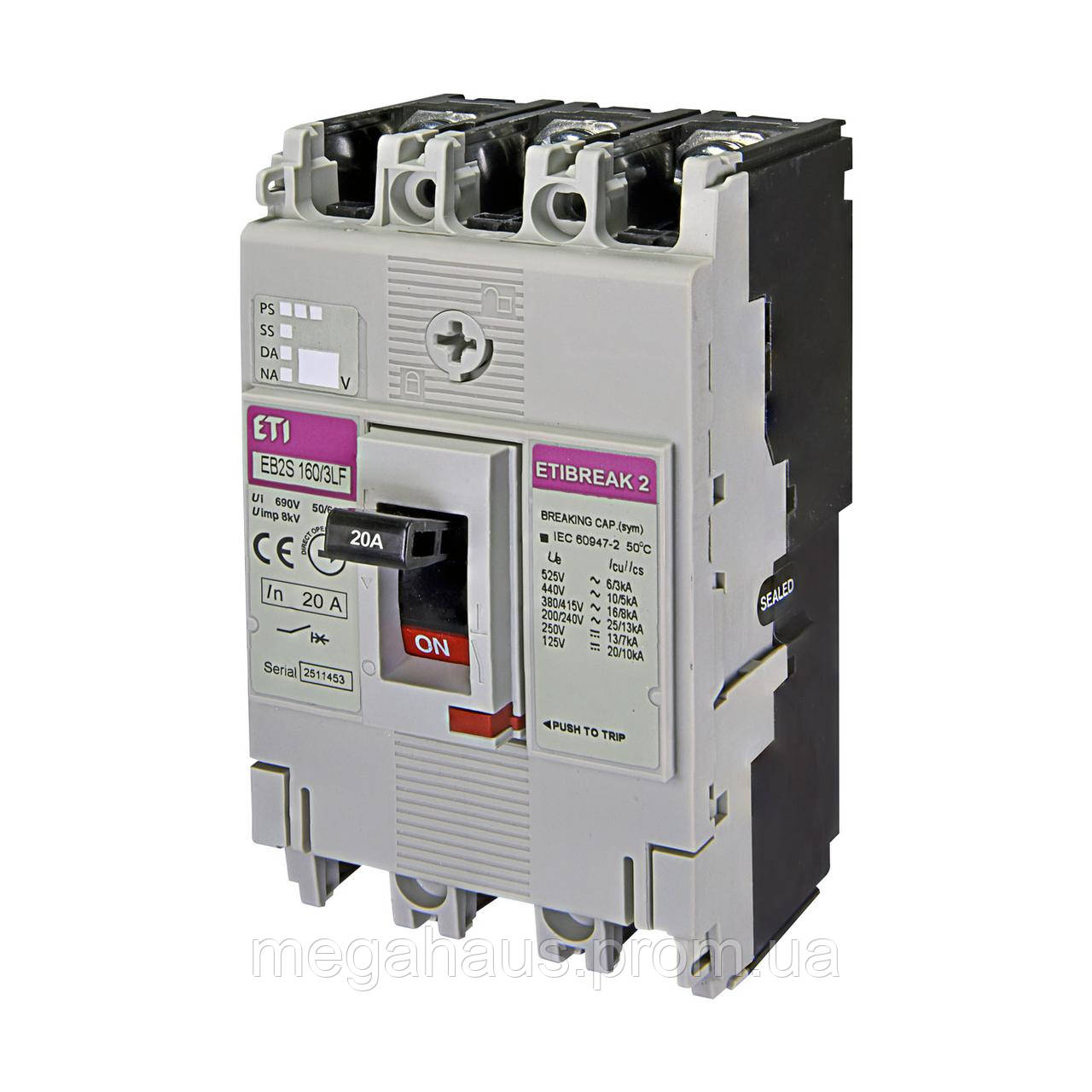 Промышленный автоматический выключатель ETI ETIBREAK  EB2S 160/3LF  20А 3P (16kA фикс.настр.)