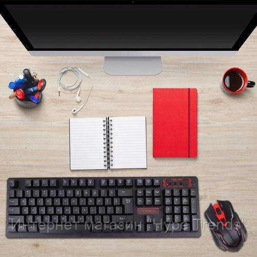 Беспроводная клавиатура и мышка игровая HK-6500. Wireless Gaming Keybo